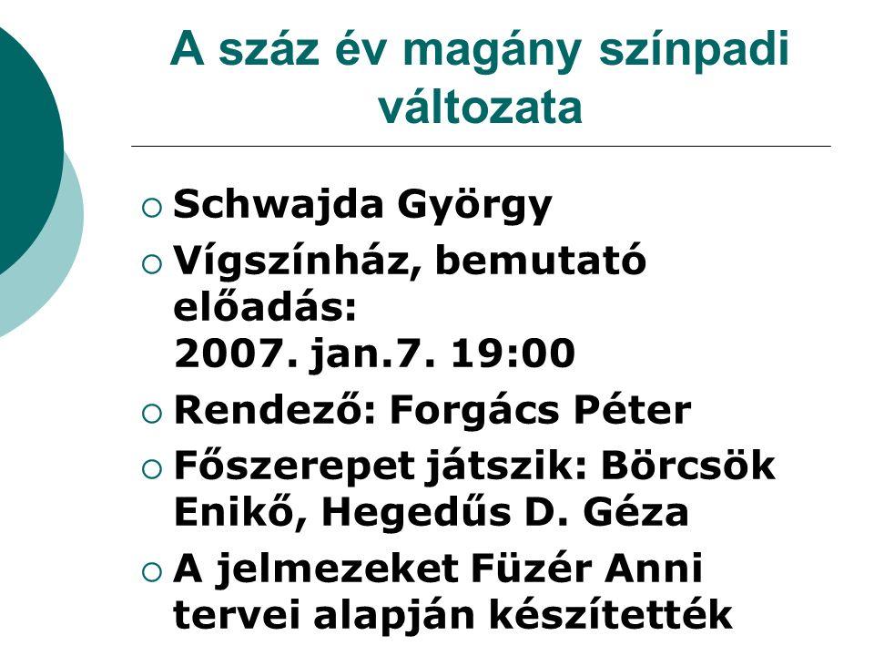 A száz év magány színpadi változata  Schwajda György  Vígszínház, bemutató előadás: 2007. jan.7. 19:00  Rendező: Forgács Péter  Főszerepet játszik