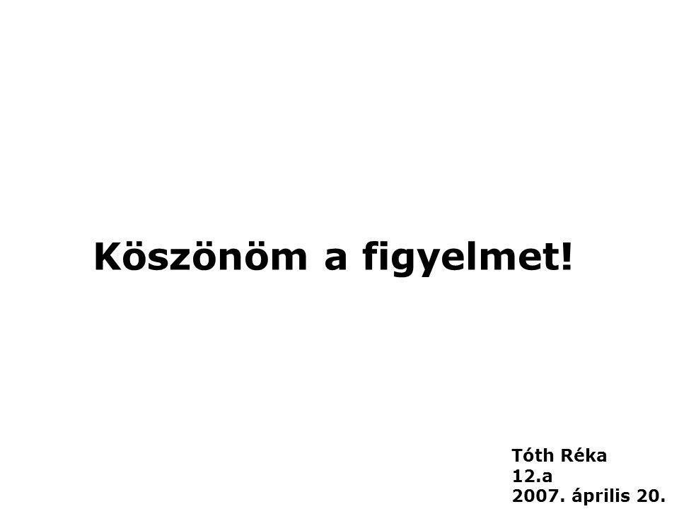 Köszönöm a figyelmet! Tóth Réka 12.a 2007. április 20.