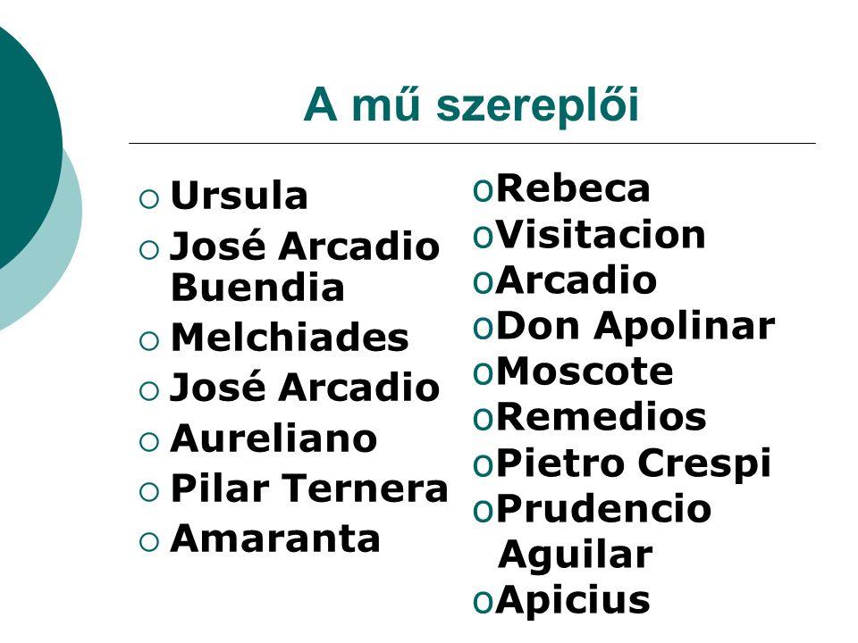 A mű szereplői  Ursula  José Arcadio Buendia  Melchiades  José Arcadio  Aureliano  Pilar Ternera  Amaranta oRebeca oVisitacion oArcadio oDon Ap