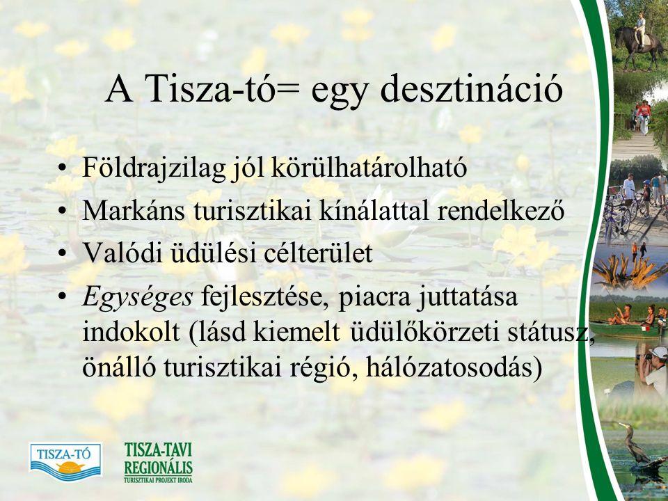 A Tisza-tó= egy desztináció Földrajzilag jól körülhatárolható Markáns turisztikai kínálattal rendelkező Valódi üdülési célterület Egységes fejlesztése, piacra juttatása indokolt (lásd kiemelt üdülőkörzeti státusz, önálló turisztikai régió, hálózatosodás)