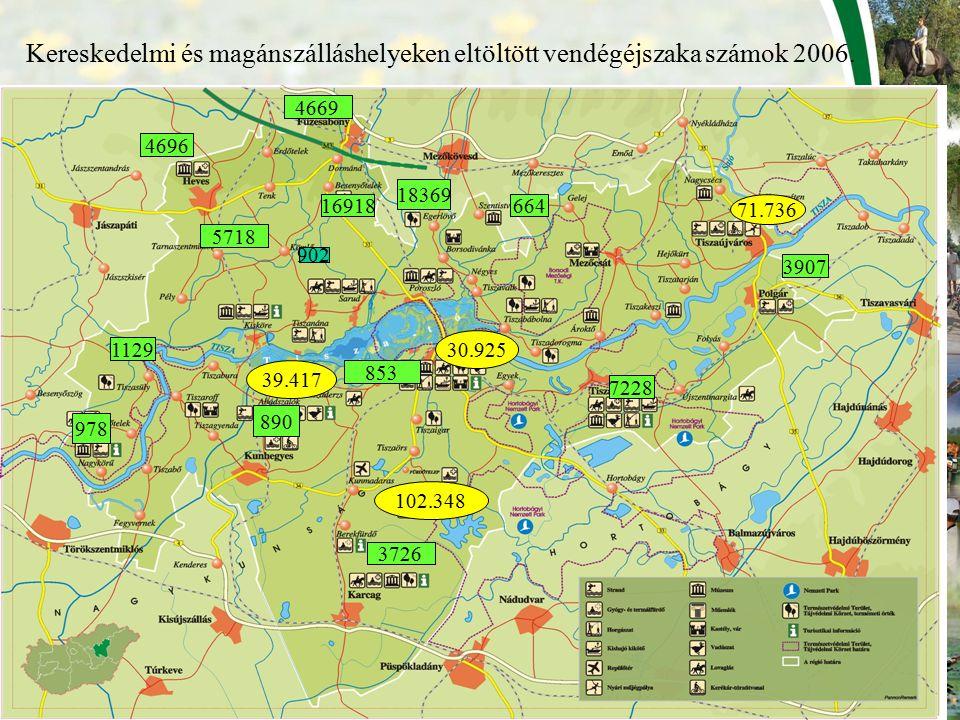 Kereskedelmi és magánszálláshelyeken eltöltött vendégéjszaka számok 2006.