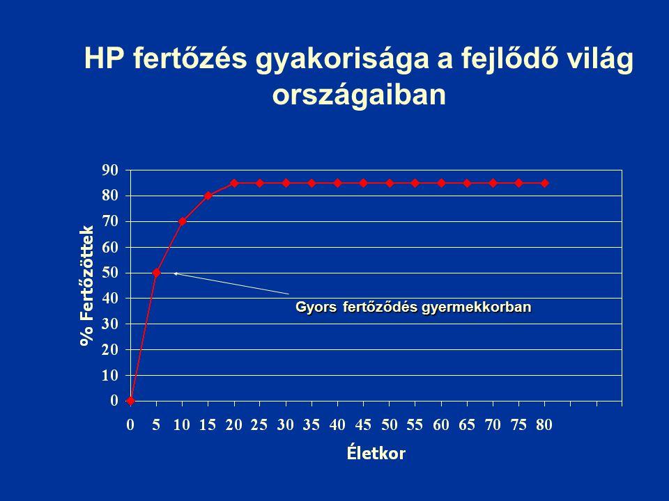 HP fertőzés gyakorisága a fejlődő világ országaiban Gyors fertőződés gyermekkorban