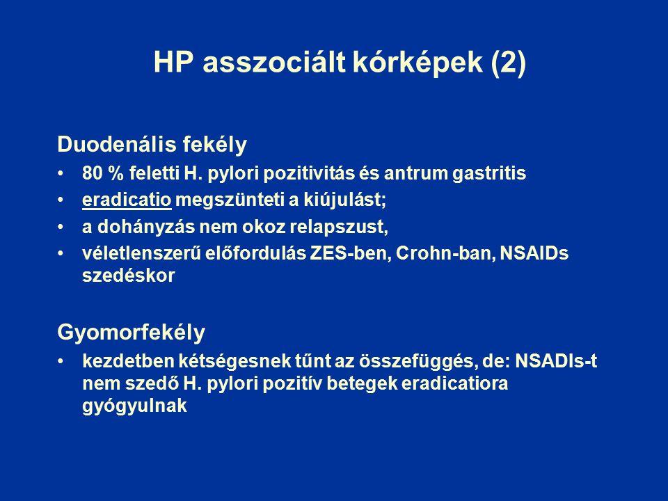 HP asszociált kórképek (2) Duodenális fekély 80 % feletti H.
