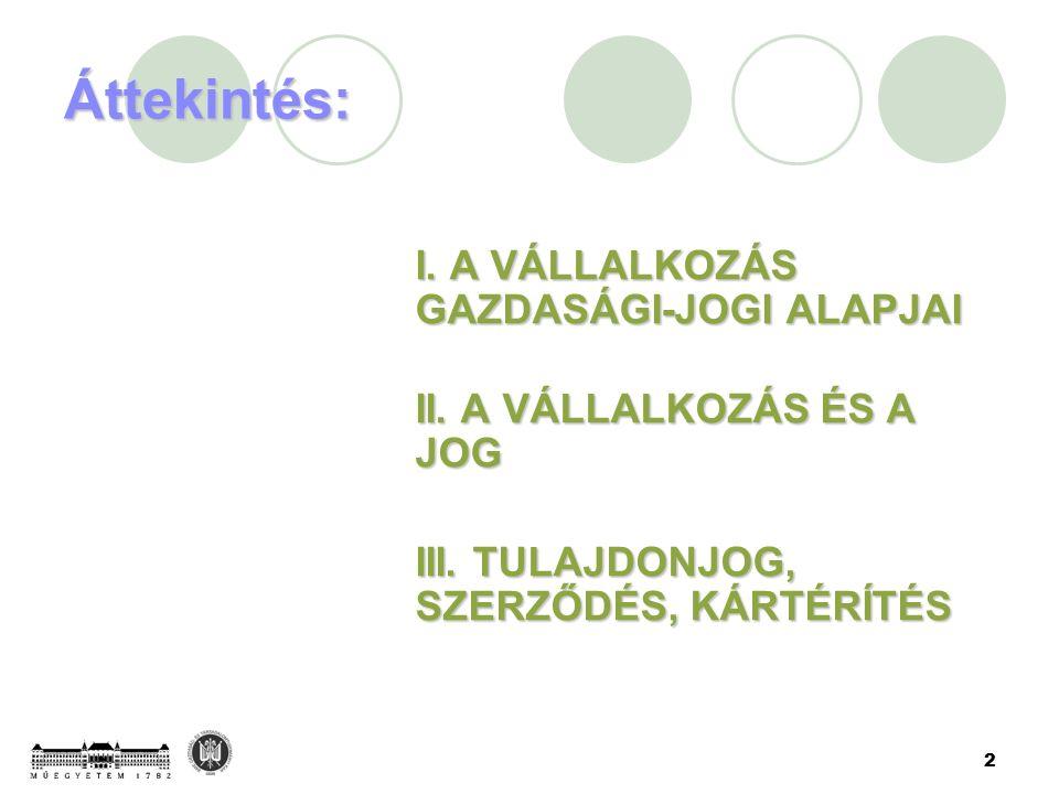 2 Áttekintés: I. A VÁLLALKOZÁS GAZDASÁGI-JOGI ALAPJAI I.