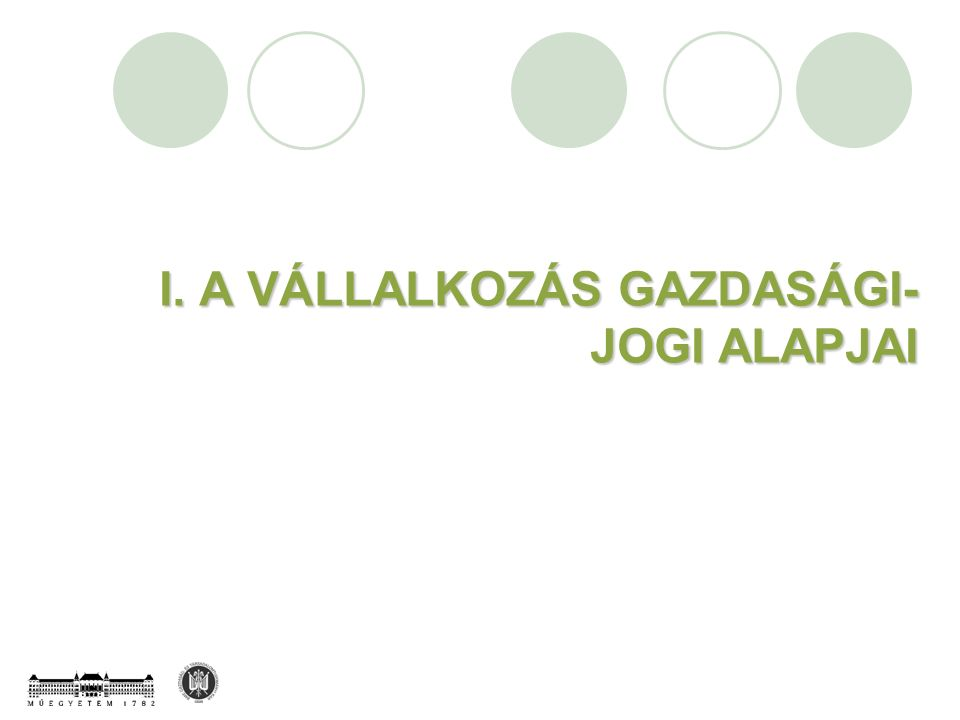 I. A VÁLLALKOZÁS GAZDASÁGI- JOGI ALAPJAI