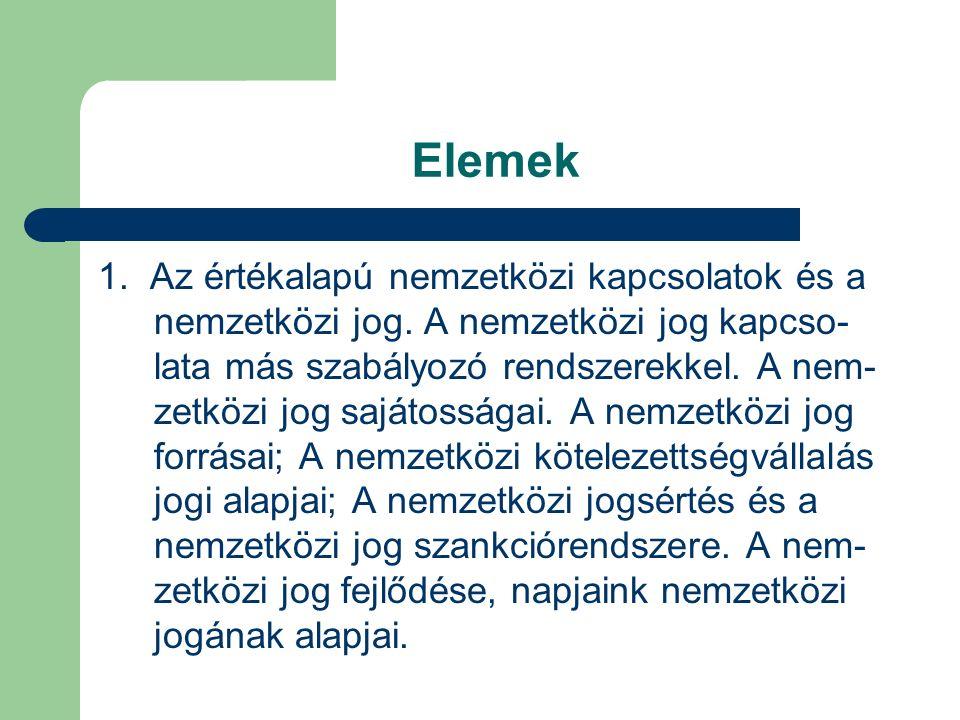Elemek (2) 2.A nemzetközi jog alapelvei.