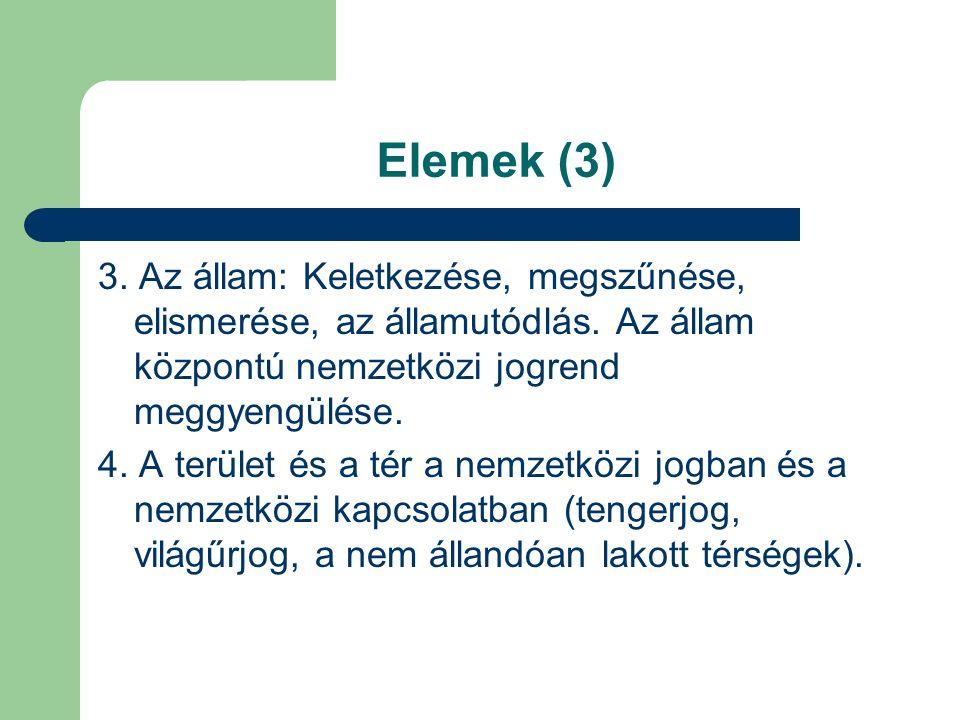 Elemek (3) 3. Az állam: Keletkezése, megszűnése, elismerése, az államutódlás. Az állam központú nemzetközi jogrend meggyengülése. 4. A terület és a té