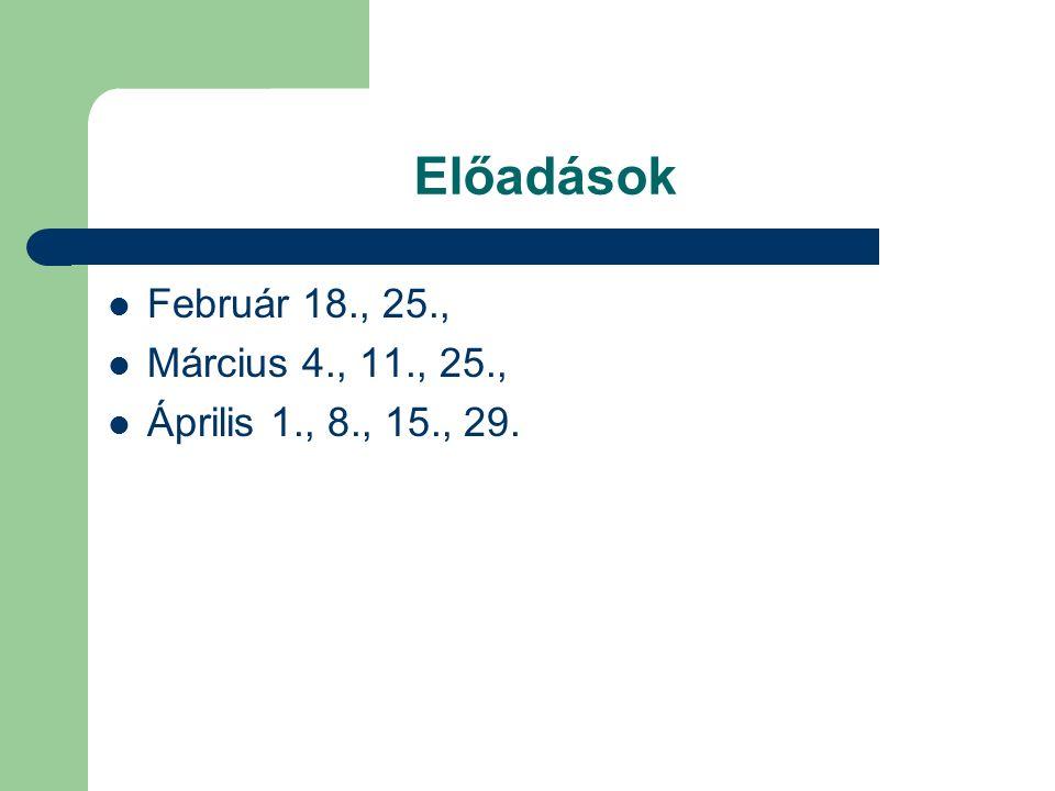 Előadások Február 18., 25., Március 4., 11., 25., Április 1., 8., 15., 29.