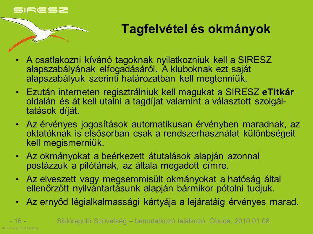 Tagfelvétel és okmányok A csatlakozni kívánó tagoknak nyilatkozniuk kell a SIRESZ alapszabályának elfogadásáról.