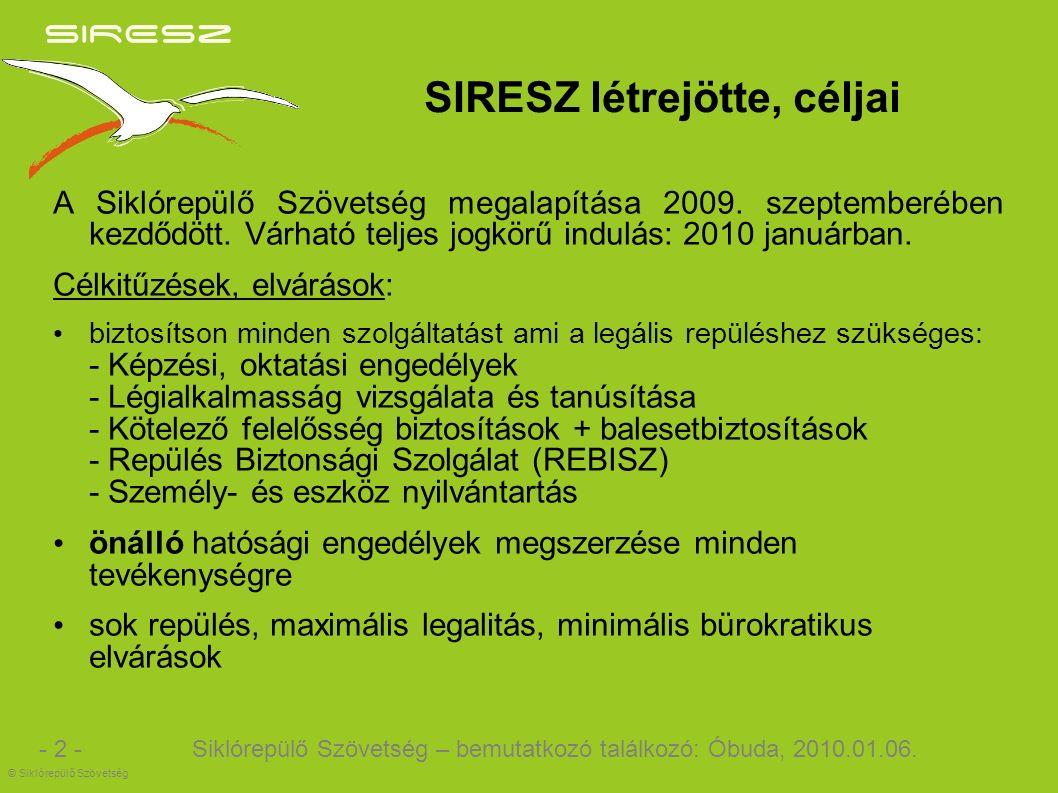 SIRESZ létrejötte, céljai A Siklórepülő Szövetség megalapítása 2009.