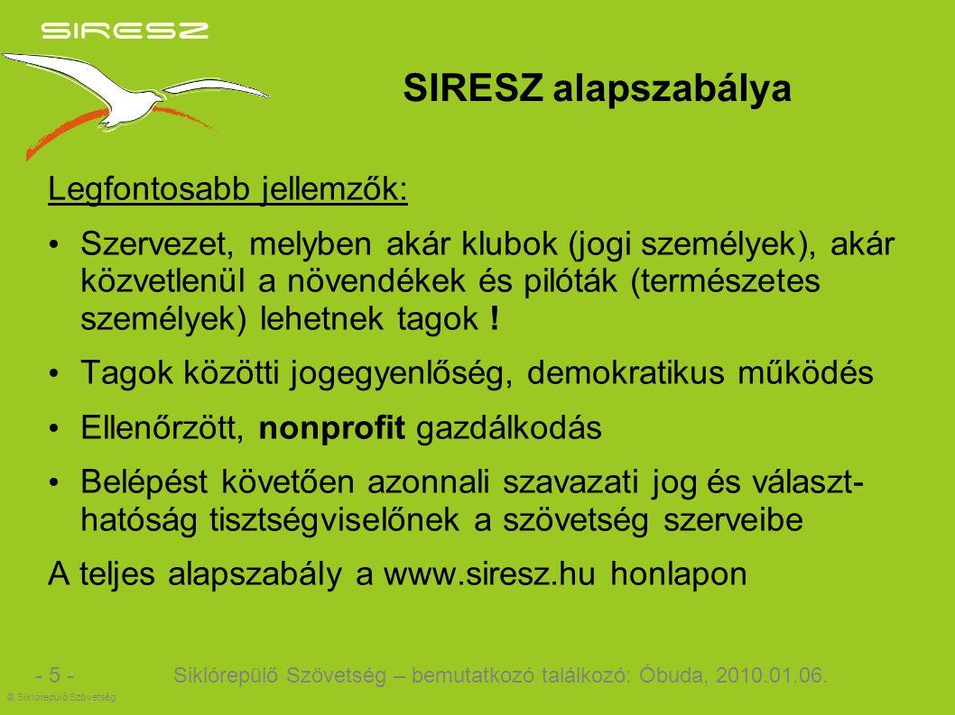 SIRESZ alapszabálya Legfontosabb jellemzők: Szervezet, melyben akár klubok (jogi személyek), akár közvetlenül a növendékek és pilóták (természetes személyek) lehetnek tagok .