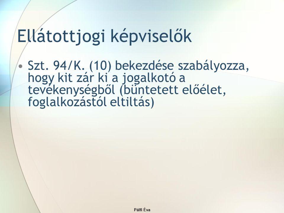 Pálfi Éva Ellátottjogi képviselők Szt. 94/K.
