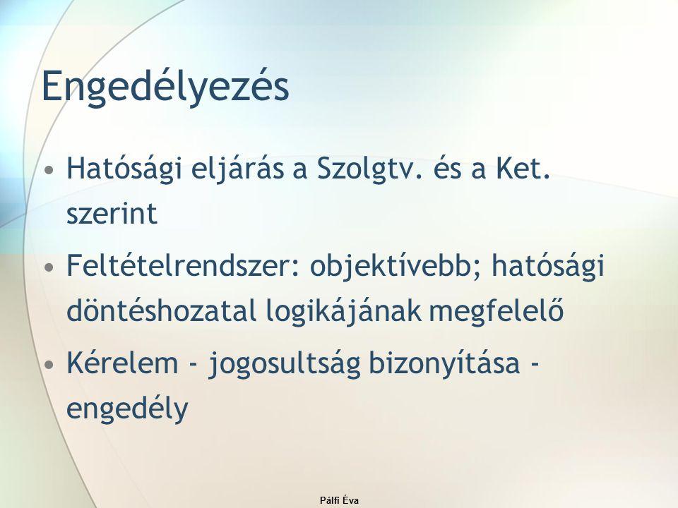 Pálfi Éva Engedélyezés Hatósági eljárás a Szolgtv.
