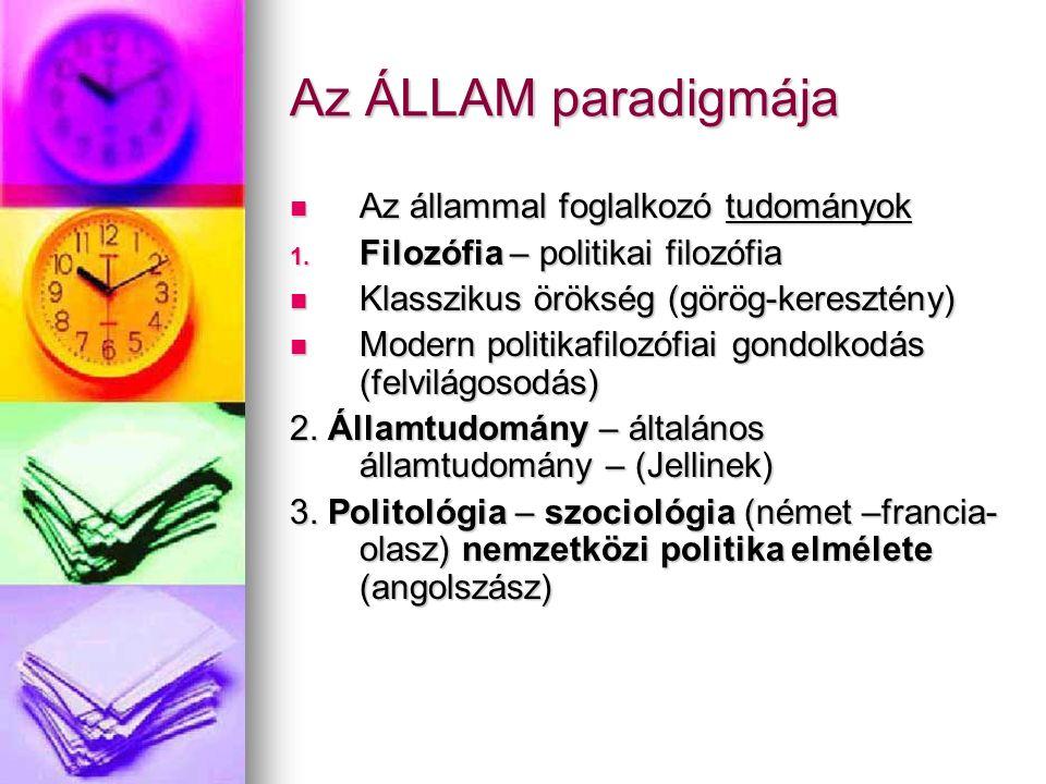 Az ÁLLAM paradigmája Az állammal foglalkozó tudományok Az állammal foglalkozó tudományok 1.
