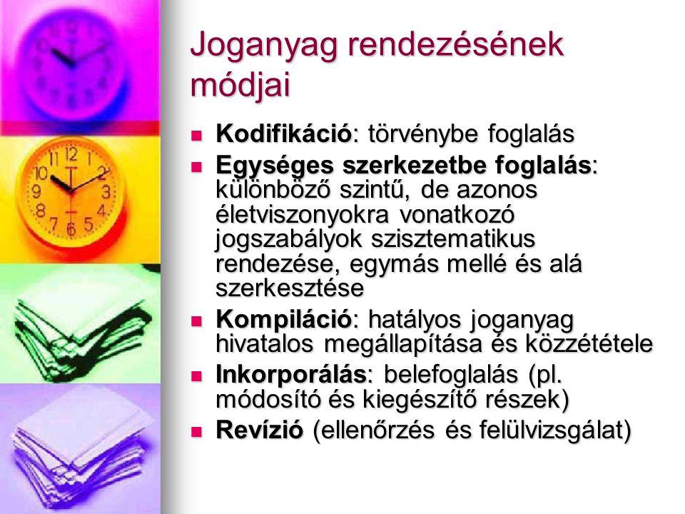 Kodifikáció: törvénybe foglalás Kodifikáció: törvénybe foglalás Egységes szerkezetbe foglalás: különböző szintű, de azonos életviszonyokra vonatkozó j