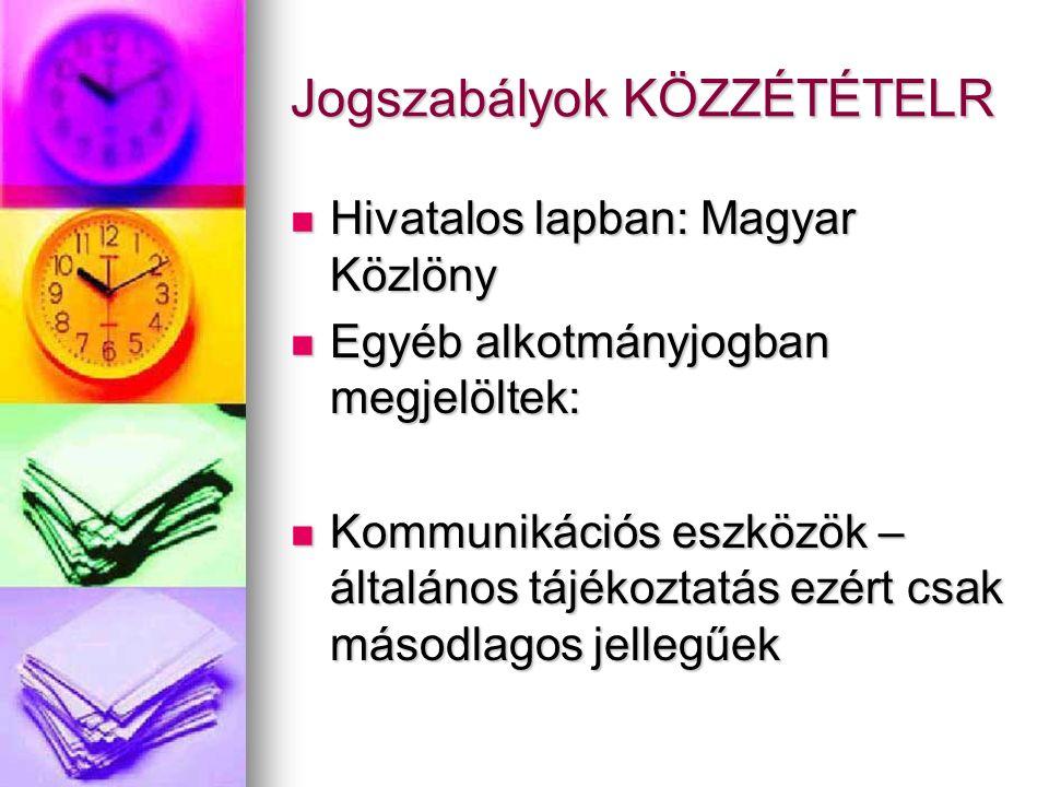 Jogszabályok KÖZZÉTÉTELR Hivatalos lapban: Magyar Közlöny Hivatalos lapban: Magyar Közlöny Egyéb alkotmányjogban megjelöltek: Egyéb alkotmányjogban megjelöltek: Kommunikációs eszközök – általános tájékoztatás ezért csak másodlagos jellegűek Kommunikációs eszközök – általános tájékoztatás ezért csak másodlagos jellegűek
