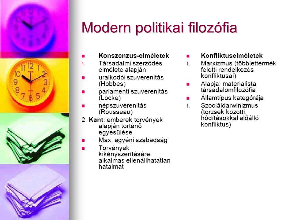 Modern politikai filozófia Konszenzus-elméletek Konszenzus-elméletek 1. Társadalmi szerződés elmélete alapján uralkodói szuverenitás (Hobbes) uralkodó