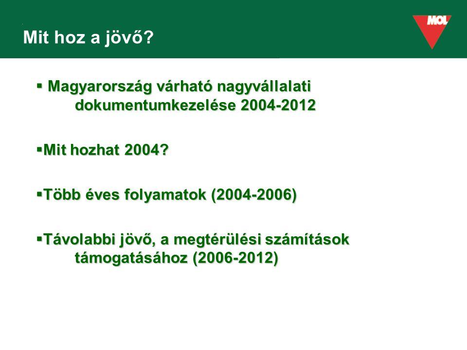 Mit hoz a jövő?  Magyarország várható nagyvállalati dokumentumkezelése 2004-2012  Mit hozhat 2004?  Több éves folyamatok (2004-2006)  Távolabbi jö