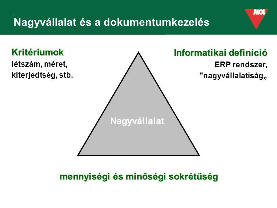 """Nagyvállalat és a dokumentumkezelés Informatikai definíció ERP rendszer, nagyvállalatiság"""" mennyiségi és minőségi sokrétűség Kritériumok létszám, méret, kiterjedtség, stb."""