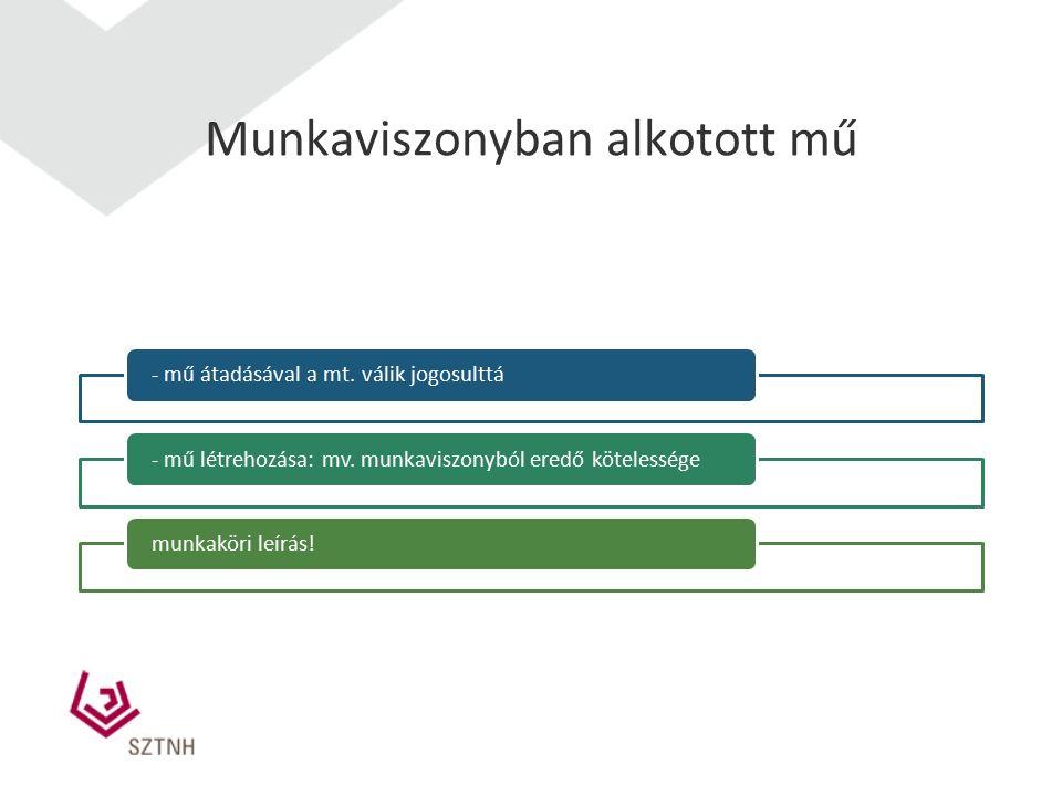 Munkaviszonyban alkotott mű - mű átadásával a mt. válik jogosulttá- mű létrehozása: mv. munkaviszonyból eredő kötelességemunkaköri leírás!