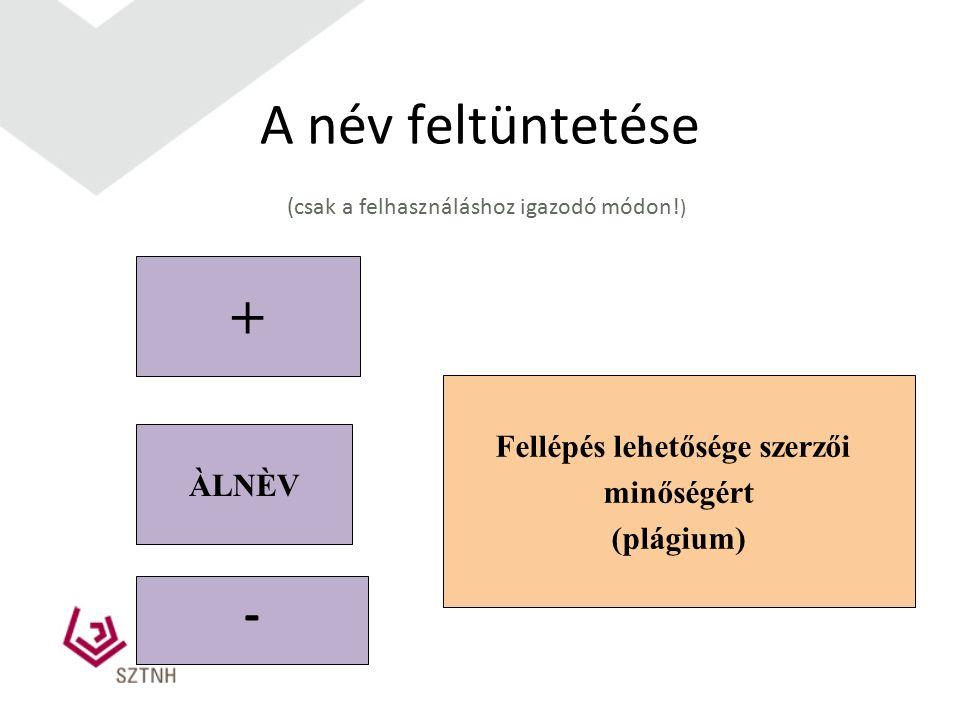 A név feltüntetése (csak a felhasználáshoz igazodó módon! ) + Fellépés lehetősége szerzői minőségért (plágium) ÀLNÈV -
