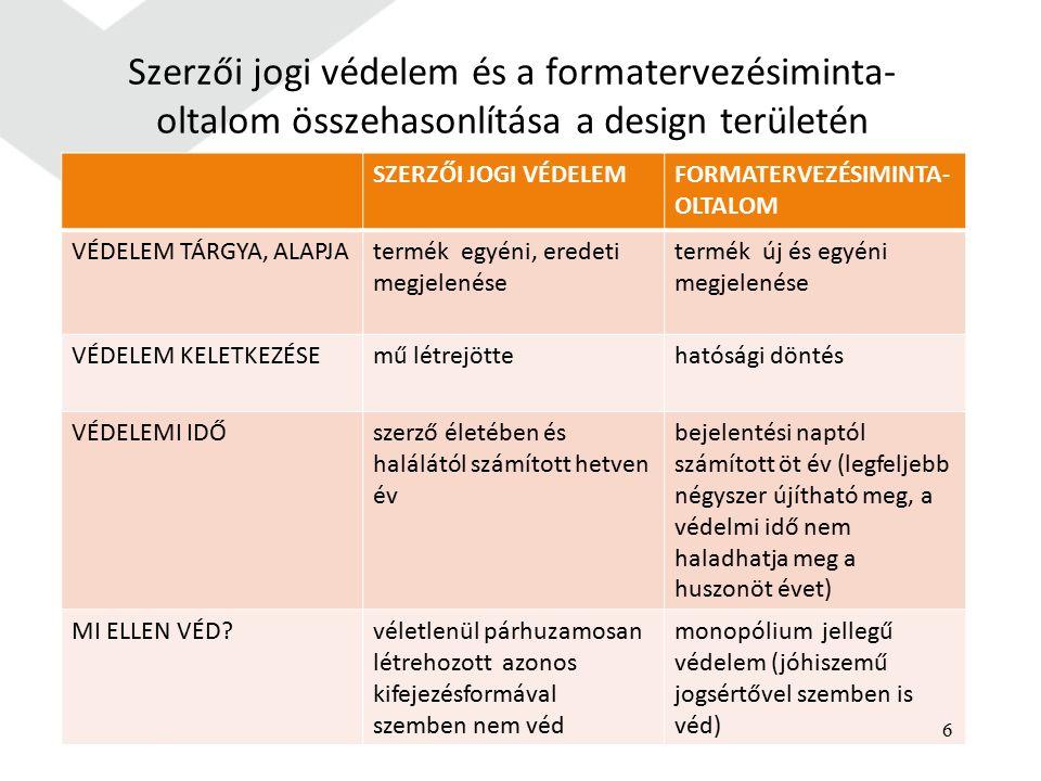 Szerzői jogi védelem és a formatervezésiminta- oltalom összehasonlítása a design területén SZERZŐI JOGI VÉDELEMFORMATERVEZÉSIMINTA- OLTALOM VÉDELEM TÁRGYA, ALAPJAtermék egyéni, eredeti megjelenése termék új és egyéni megjelenése VÉDELEM KELETKEZÉSEmű létrejöttehatósági döntés VÉDELEMI IDŐszerző életében és halálától számított hetven év bejelentési naptól számított öt év (legfeljebb négyszer újítható meg, a védelmi idő nem haladhatja meg a huszonöt évet) MI ELLEN VÉD véletlenül párhuzamosan létrehozott azonos kifejezésformával szemben nem véd monopólium jellegű védelem (jóhiszemű jogsértővel szemben is véd) 6