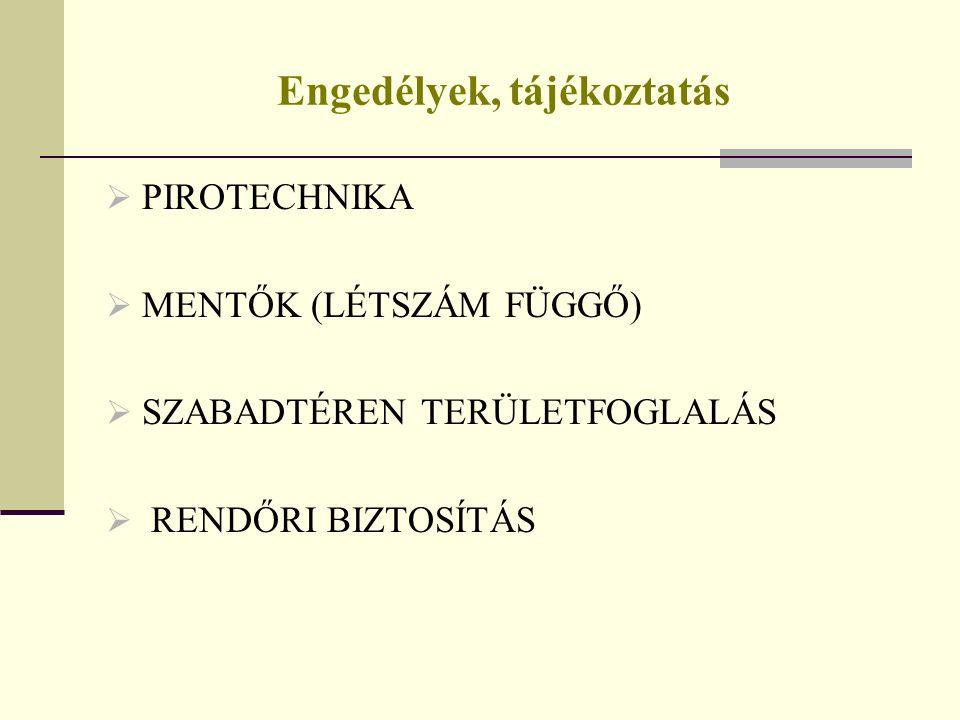 Engedélyek, tájékoztatás  PIROTECHNIKA  MENTŐK (LÉTSZÁM FÜGGŐ)  SZABADTÉREN TERÜLETFOGLALÁS  RENDŐRI BIZTOSÍTÁS
