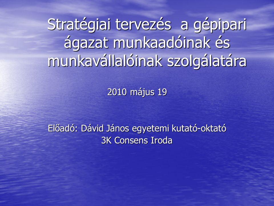 Stratégiai tervezés a gépipari ágazat munkaadóinak és munkavállalóinak szolgálatára 2010 május 19 Előadó: Dávid János egyetemi kutató-oktató 3K Consens Iroda