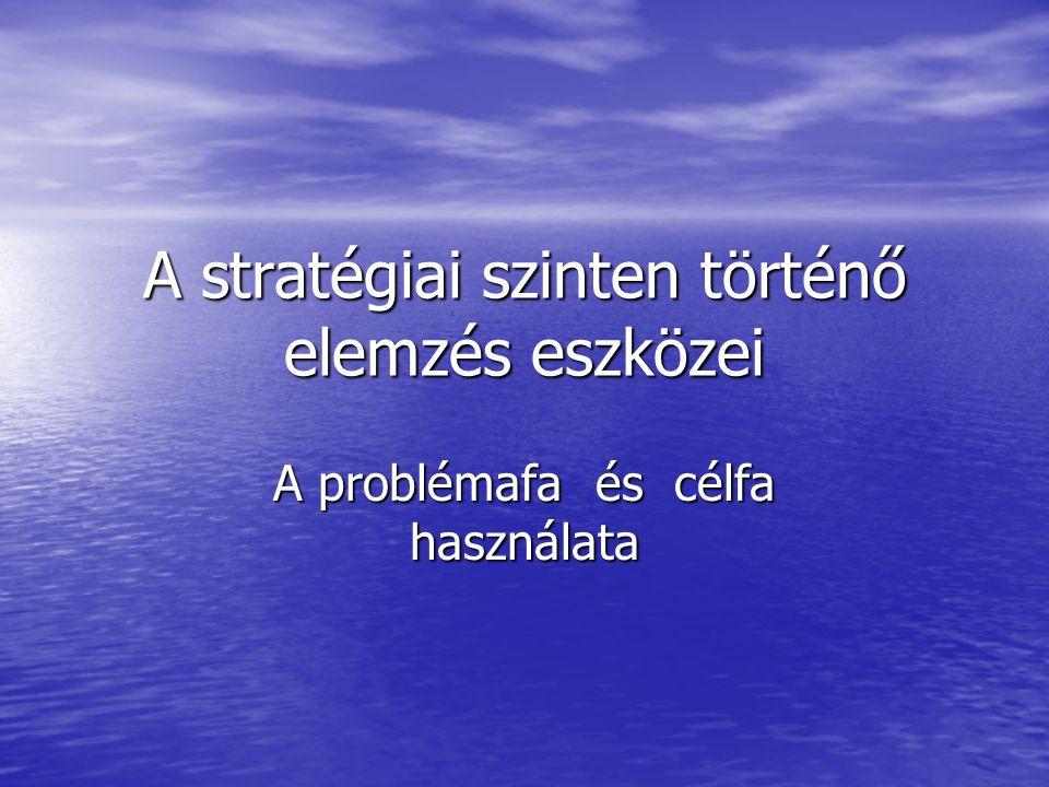 A stratégiai szinten történő elemzés eszközei A problémafa és célfa használata