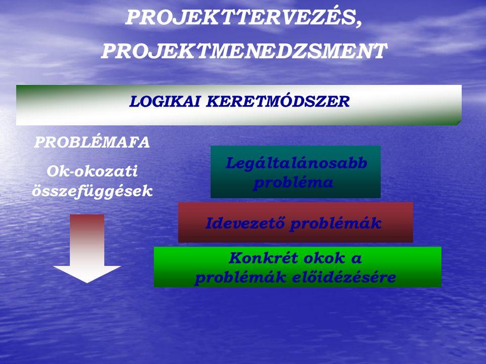 PROJEKTTERVEZÉS, PROJEKTMENEDZSMENT LOGIKAI KERETMÓDSZER PROBLÉMAFA Ok-okozati összefüggések Legáltalánosabb probléma Idevezető problémák Konkrét okok a problémák előidézésére