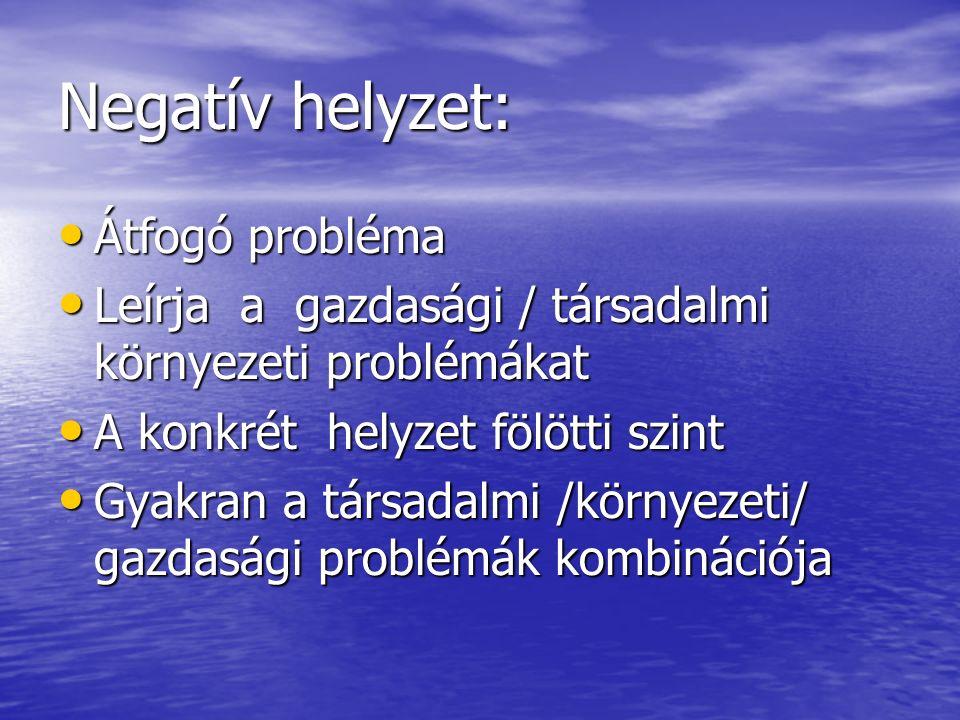 Negatív helyzet: Átfogó probléma Átfogó probléma Leírja a gazdasági / társadalmi környezeti problémákat Leírja a gazdasági / társadalmi környezeti problémákat A konkrét helyzet fölötti szint A konkrét helyzet fölötti szint Gyakran a társadalmi /környezeti/ gazdasági problémák kombinációja Gyakran a társadalmi /környezeti/ gazdasági problémák kombinációja