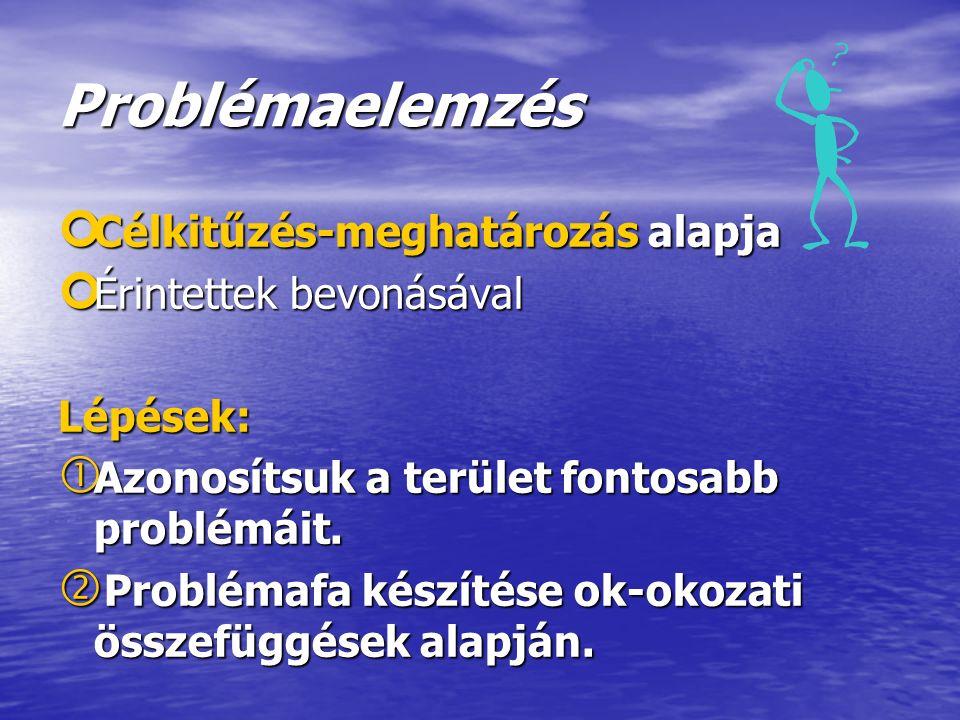 Problémaelemzés ¢ Célkitűzés-meghatározás alapja ¢ Érintettek bevonásával Lépések:  Azonosítsuk a terület fontosabb problémáit.