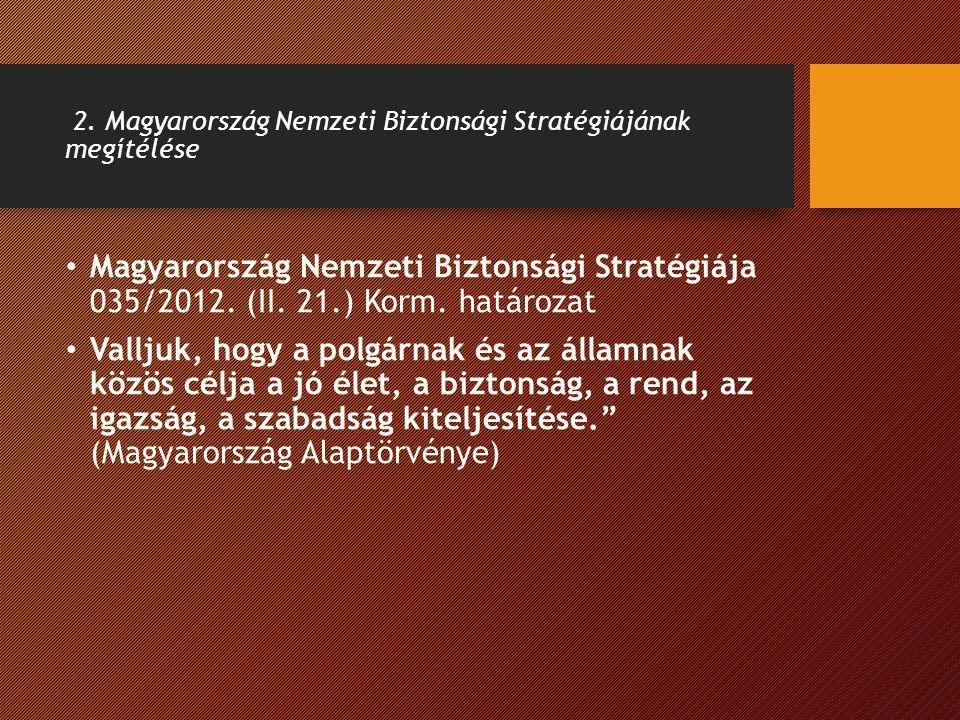 2. Magyarország Nemzeti Biztonsági Stratégiájának megítélése Magyarország Nemzeti Biztonsági Stratégiája 035/2012. (II. 21.) Korm. határozat Valljuk,