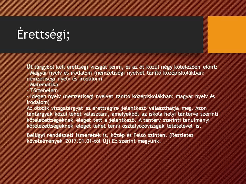 Érettségi; Öt tárgyból kell érettségi vizsgát tenni, és az öt közül négy kötelezően előírt: - Magyar nyelv és irodalom (nemzetiségi nyelvet tanító középiskolákban: nemzetiségi nyelv és irodalom) - Matematika - Történelem - Idegen nyelv (nemzetiségi nyelvet tanító középiskolákban: magyar nyelv és irodalom) Az ötödik vizsgatárgyat az érettségire jelentkező választhatja meg.