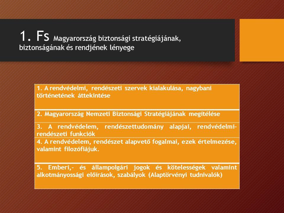 1. Fs Magyarország biztonsági stratégiájának, biztonságának és rendjének lényege 1.