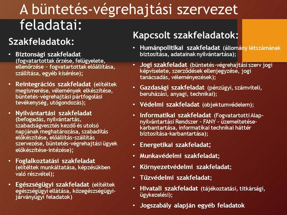 A büntetés-végrehajtási szervezet feladatai: Szakfeladatok: Biztonsági szakfeladat (fogvatartottak őrzése, felügyelete, ellenőrzése – fogvatartottak előállítása, szállítása, egyéb kísérése) ; Reintegrációs szakfeladat (elítéltek megismerése, vélemények elkészítése, büntetés-végrehajtási pártfogolási tevékenység, utógondozás); Nyilvántartási szakfeladat (befogadás, nyilvántartás, szabadságvesztés kezdő és utolsó napjának meghatározása, szabadítás előkészítése, előállítás-szállítás szervezése, büntetés-végrehajtási ügyek előkészítése-intézése) ; Foglalkoztatási szakfeladat (elítéltek munkáltatása, képzésükben való részvétel) ; Egészségügyi szakfeladat (elítéltek egészségügyi ellátása, közegészségügyi- járványügyi feladatok) Kapcsolt szakfeladatok: Humánpolitikai szakfeladat (állomány létszámának biztosítása, adatainak nyilvántartása); Jogi szakfeladat (büntetés-végrehajtási szerv jogi képviselete, szerződések ellenjegyzése, jogi tanácsadás, véleményezések); Gazdasági szakfeladat (pénzügyi, számviteli, beruházási, anyagi, technikai); Védelmi szakfeladat (objektumvédelem); Informatikai szakfeladat (Fogvatartotti Alap- nyilvántartási Rendszer – FANY – üzemeltetése- karbantartása, informatikai technikai háttér biztosítása-karbantartása); Energetikai szakfeladat ; Munkavédelmi szakfeladat; Környezetvédelmi szakfeladat; Tűzvédelmi szakfeladat; Hivatali szakfeladat (tájékoztatási, titkársági, ügykezelési); Jogszabály alapján egyéb feladatok
