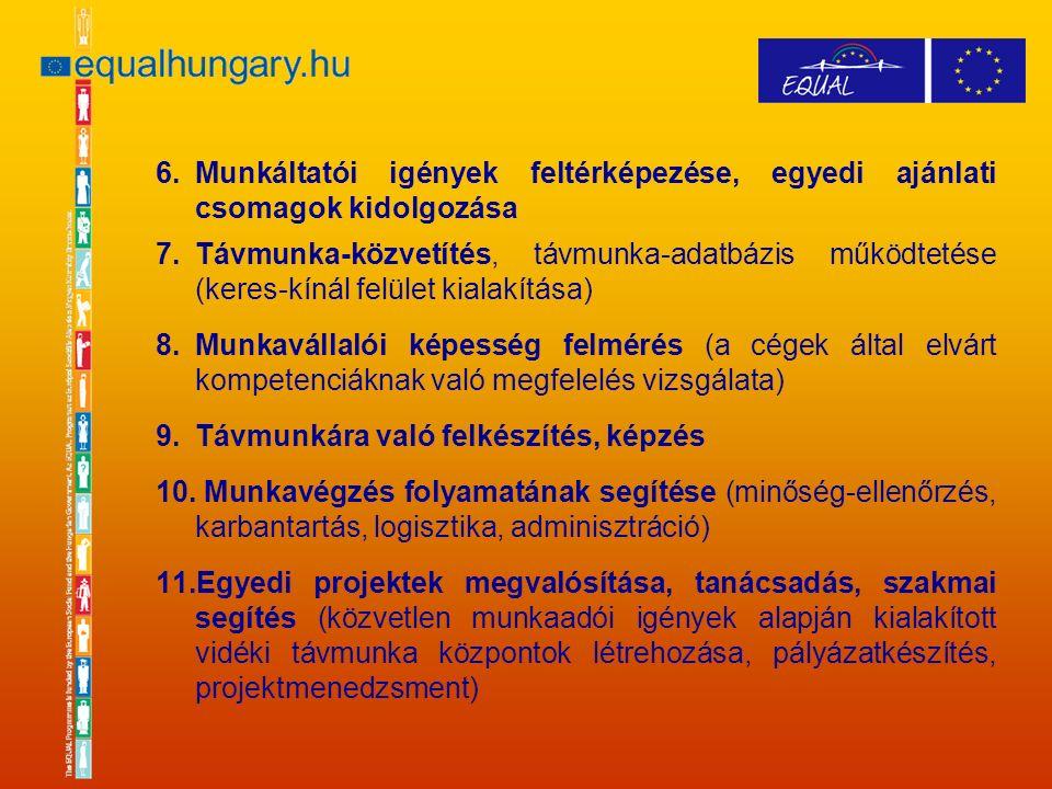 6.Munkáltatói igények feltérképezése, egyedi ajánlati csomagok kidolgozása 7.Távmunka-közvetítés, távmunka-adatbázis működtetése (keres-kínál felület kialakítása) 8.Munkavállalói képesség felmérés (a cégek által elvárt kompetenciáknak való megfelelés vizsgálata) 9.Távmunkára való felkészítés, képzés 10.