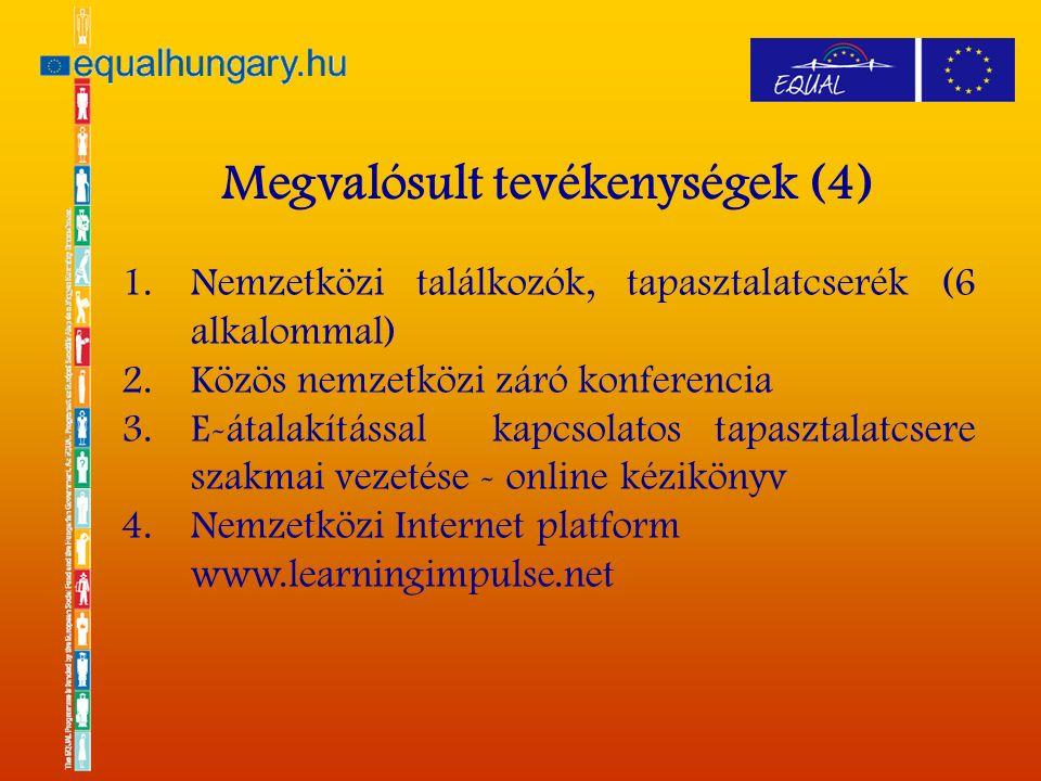 1.Nemzetközi találkozók, tapasztalatcserék (6 alkalommal) 2.Közös nemzetközi záró konferencia 3.E-átalakítással kapcsolatos tapasztalatcsere szakmai vezetése - online kézikönyv 4.Nemzetközi Internet platform www.learningimpulse.net Megvalósult tevékenységek (4)