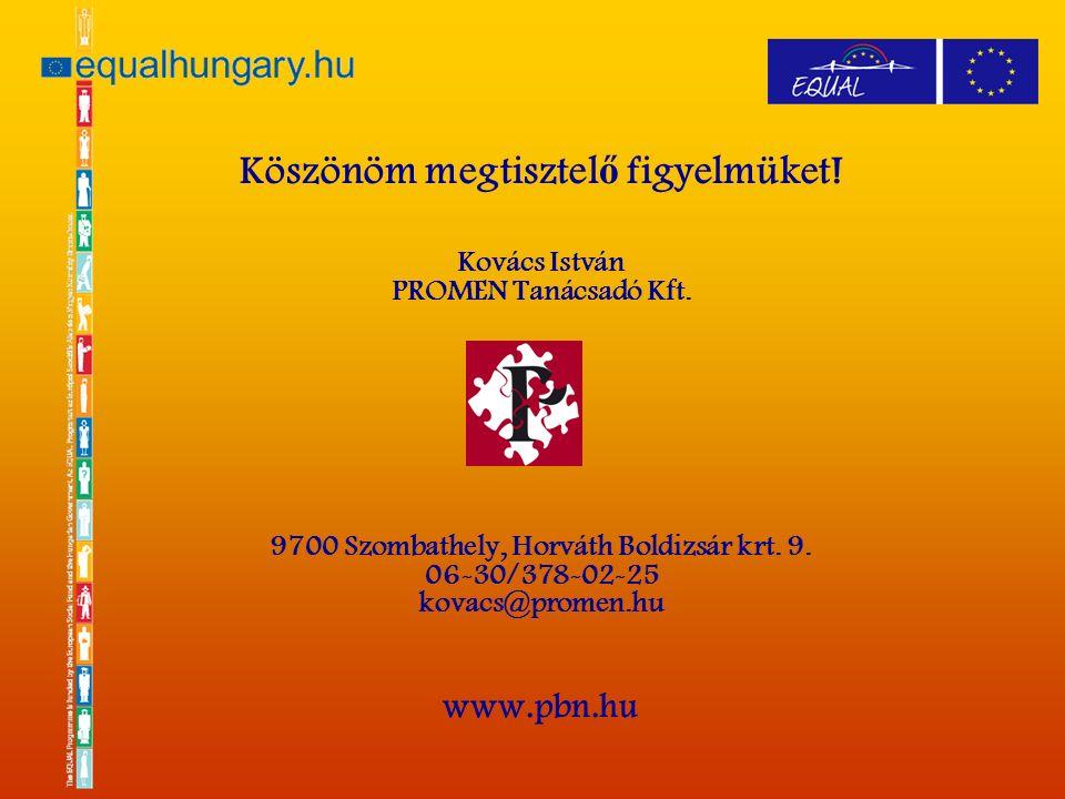 Köszönöm megtisztel ő figyelmüket. Kovács István PROMEN Tanácsadó Kft.