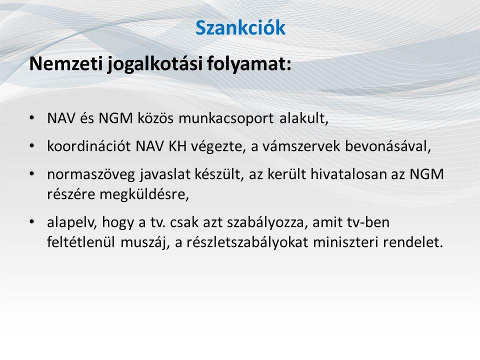 Szankciók Nemzeti jogalkotási folyamat: NAV és NGM közös munkacsoport alakult, koordinációt NAV KH végezte, a vámszervek bevonásával, normaszöveg javaslat készült, az került hivatalosan az NGM részére megküldésre, alapelv, hogy a tv.