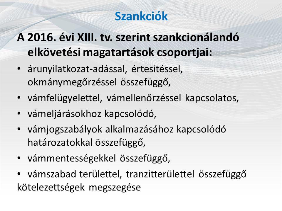 Szankciók A 2016. évi XIII. tv. szerint szankcionálandó elkövetési magatartások csoportjai: árunyilatkozat-adással, értesítéssel, okmánymegőrzéssel ös