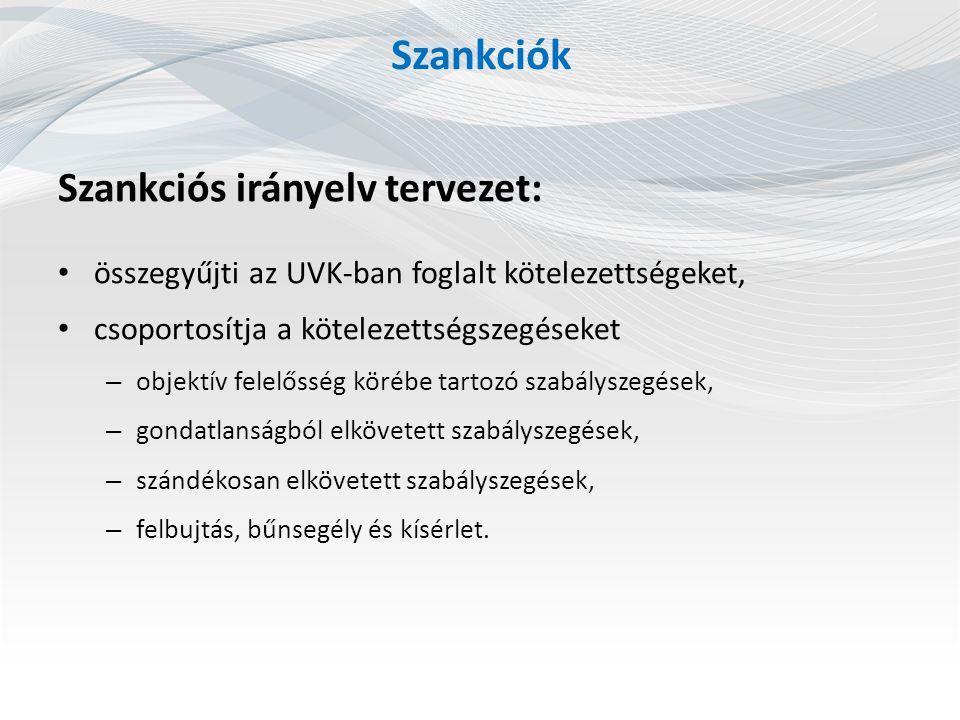 Szankciók Szankciós irányelv tervezet: összegyűjti az UVK-ban foglalt kötelezettségeket, csoportosítja a kötelezettségszegéseket – objektív felelősség