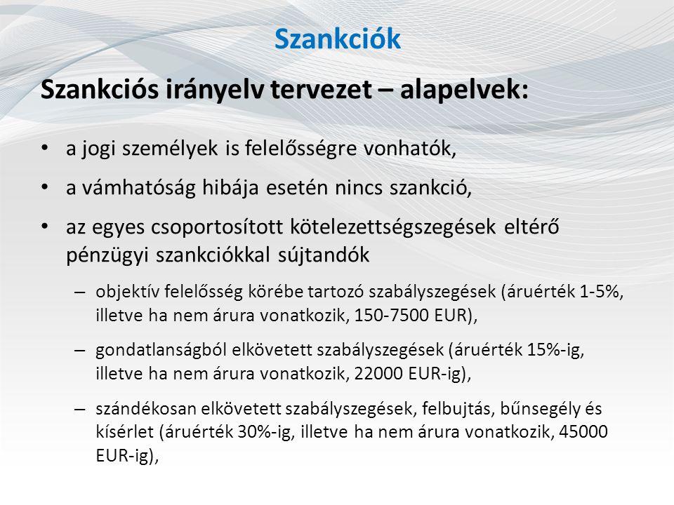 Szankciók Szankciós irányelv tervezet – alapelvek: a jogi személyek is felelősségre vonhatók, a vámhatóság hibája esetén nincs szankció, az egyes csoportosított kötelezettségszegések eltérő pénzügyi szankciókkal sújtandók – objektív felelősség körébe tartozó szabályszegések (áruérték 1-5%, illetve ha nem árura vonatkozik, 150-7500 EUR), – gondatlanságból elkövetett szabályszegések (áruérték 15%-ig, illetve ha nem árura vonatkozik, 22000 EUR-ig), – szándékosan elkövetett szabályszegések, felbujtás, bűnsegély és kísérlet (áruérték 30%-ig, illetve ha nem árura vonatkozik, 45000 EUR-ig),