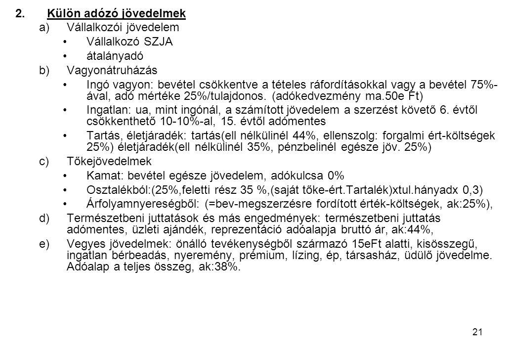 21 2.Külön adózó jövedelmek a)Vállalkozói jövedelem Vállalkozó SZJA átalányadó b)Vagyonátruházás Ingó vagyon: bevétel csökkentve a tételes ráfordításo