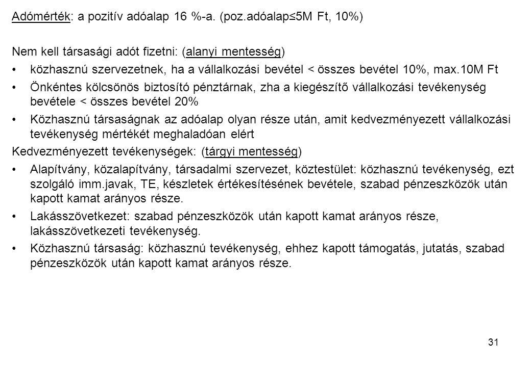 31 Adómérték: a pozitív adóalap 16 %-a. (poz.adóalap≤5M Ft, 10%) Nem kell társasági adót fizetni: (alanyi mentesség) közhasznú szervezetnek, ha a váll