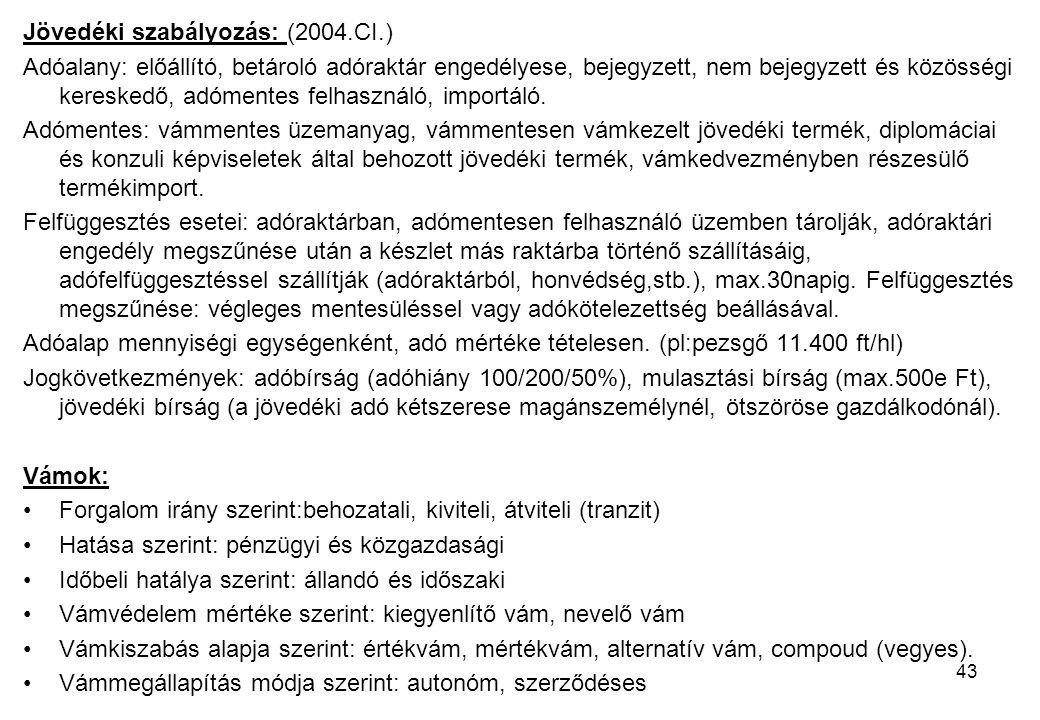 43 Jövedéki szabályozás: (2004.CI.) Adóalany: előállító, betároló adóraktár engedélyese, bejegyzett, nem bejegyzett és közösségi kereskedő, adómentes felhasználó, importáló.