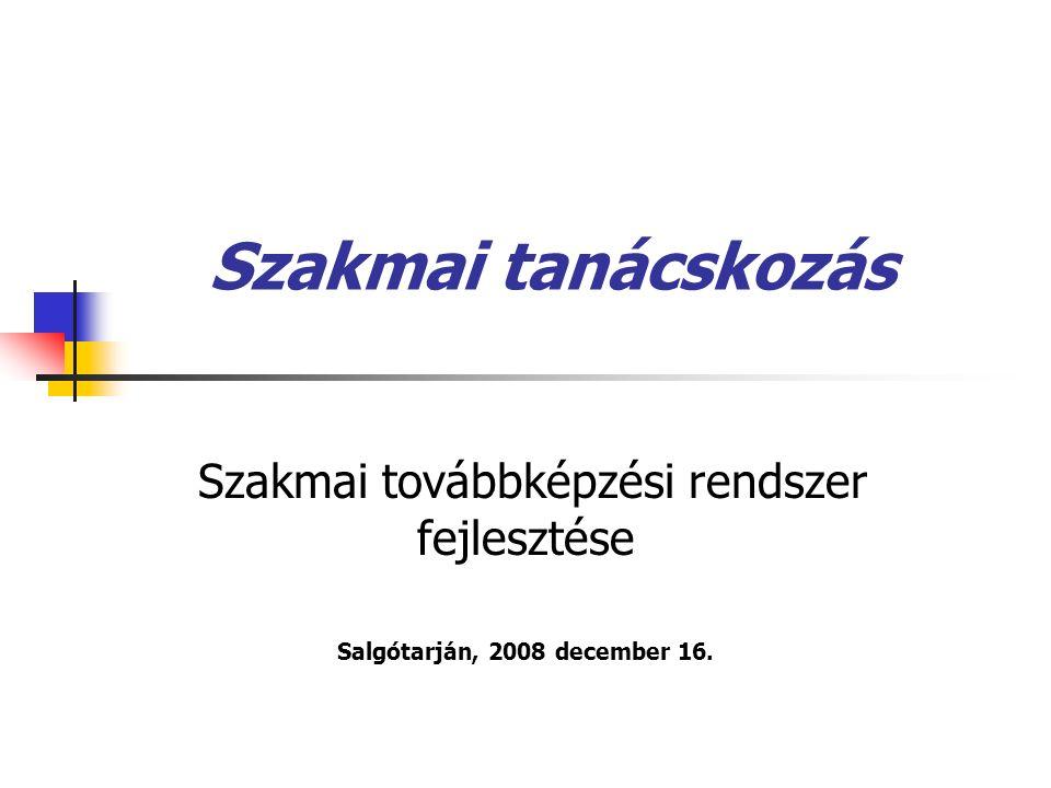 Szakmai tanácskozás Szakmai továbbképzési rendszer fejlesztése Salgótarján, 2008 december 16.