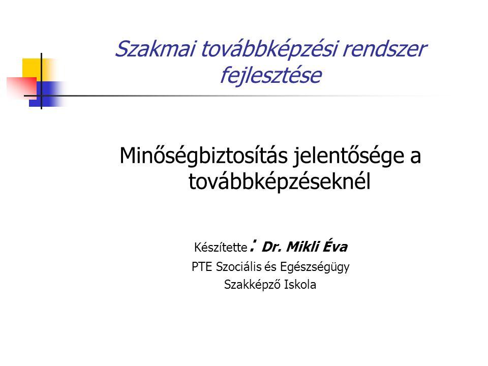 Szakmai továbbképzési rendszer fejlesztése Minőségbiztosítás jelentősége a továbbképzéseknél Készítette : Dr. Mikli Éva PTE Szociális és Egészségügy S