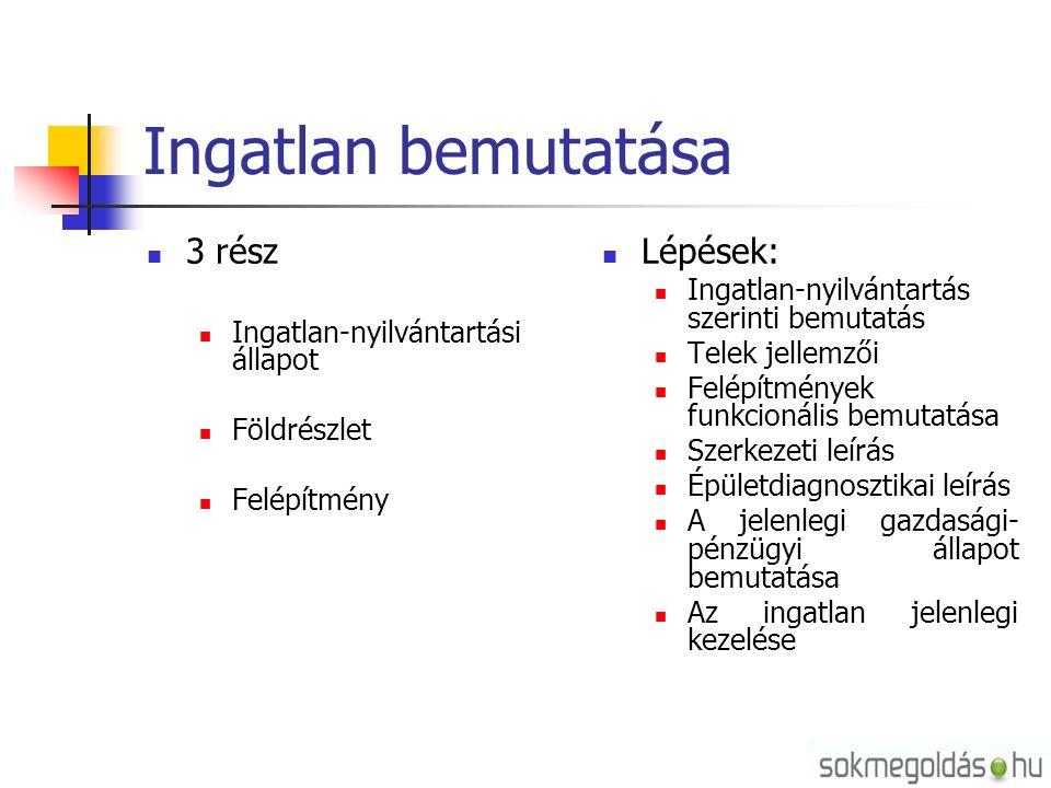 Ingatlan bemutatása 3 rész Ingatlan-nyilvántartási állapot Földrészlet Felépítmény Lépések: Ingatlan-nyilvántartás szerinti bemutatás Telek jellemzői Felépítmények funkcionális bemutatása Szerkezeti leírás Épületdiagnosztikai leírás A jelenlegi gazdasági- pénzügyi állapot bemutatása Az ingatlan jelenlegi kezelése