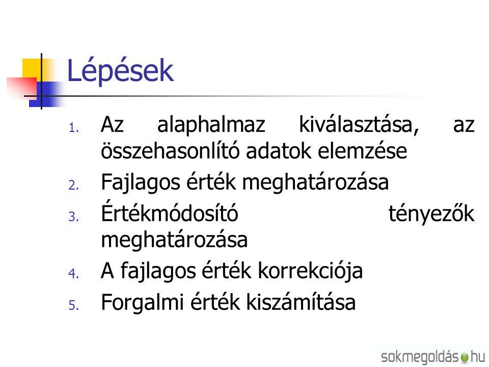 Lépések 1. Az alaphalmaz kiválasztása, az összehasonlító adatok elemzése 2.